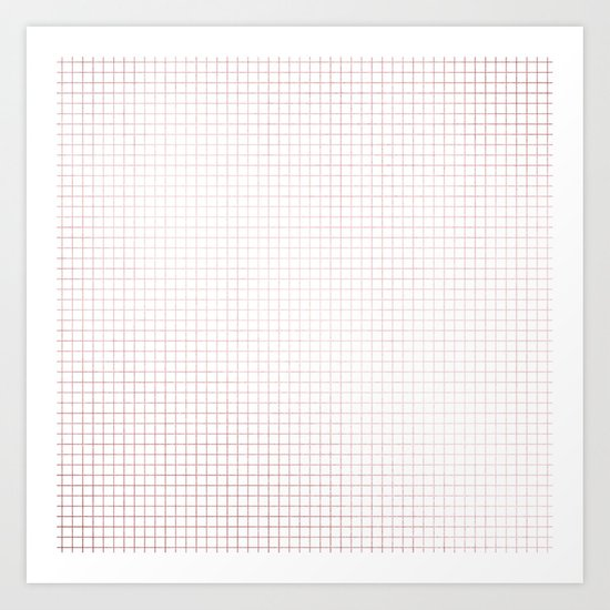 Simply Grid Lines in Rose Gold Sunset Art Print