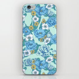 Weapon Floral-Blue iPhone Skin
