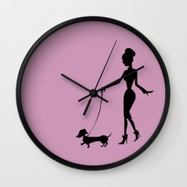 Flaunting The Pooch (Violet) Wall Clock