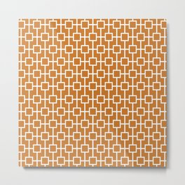 Ocher Orange Lattice Pattern Metal Print