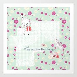 There is a Flower - Aqua Art Print