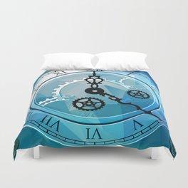 Blue Clock Duvet Cover