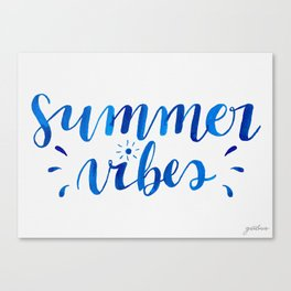 Summer Vibes Hand Lettering Canvas Print