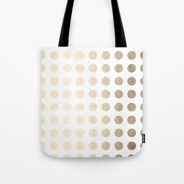 Simply Polka Dots in White Gold Sands Tote Bag