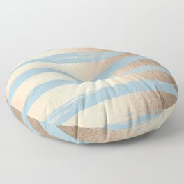 Painted Stripes Gold Tropical Ocean Sea Blue Floor Pillow