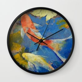 Autumn Koi Garden Wall Clock
