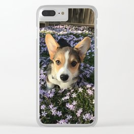Painted Corgi in Flowers Clear iPhone Case