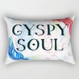Gypsy Soul - Boho Watercolor Feathers Hippy Heart Rectangular Pillow