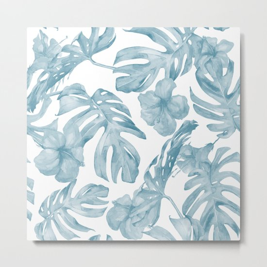 Gorgeous Blue Tropical Leaves + Flowers Metal Print