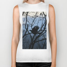 Pied Currawong Silhouette DPG150613 Biker Tank