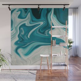 White & Teal Abstract Art Painting Wall Mural
