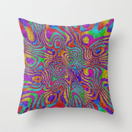 Psychedelic Rainbow Glitter Bomb Throw Pillow