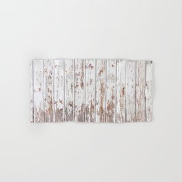 Old painted wooden planks with cracked paint texture Hand & Bath Towel