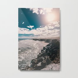 Coast, stones and clouds over the sea Metal Print