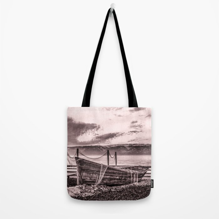 Old rusty boat with net (sepia) Tote Bag