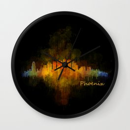 Phoenix Arizona, City Skyline Cityscape Hq v4 Dark Wall Clock