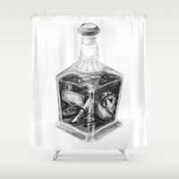drink Shower Curtains featuring Drink me by Lou Ducroq