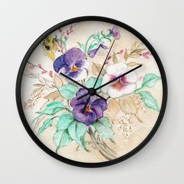 Pansies Bouquet Wall Clock