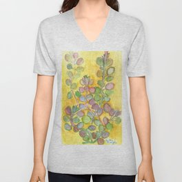 Warm and Cool, Soft Colored Succulent Unisex V-Neck