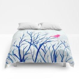 Perching bird on winter tree Comforters