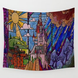 ROMANCE BEAUTY AND THE BEAST Castle Stained Glass Wall Tapestry