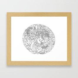 Tokyo Asakusa Dragon - Line Art Framed Art Print