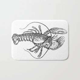 Vintage Lobster illustration Bath Mat