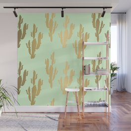 Cactus pattern gold green Wall Mural