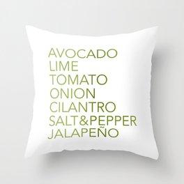 Guacamole Recipe Typography Throw Pillow