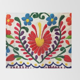 Red Mexican Flower Throw Blanket
