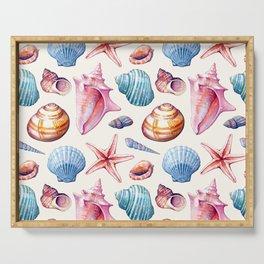 Seashells Pattern 1 - Colorful light Serving Tray