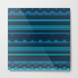 Dark Blue and Teal Stripes with Mixed Patterns Metal Print