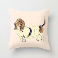 the hound Throw Pillows featuring Basset Hound by Rebecca Mcmillan