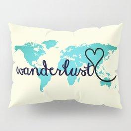 Wanderlust Aqua Ombre World Map, Off-white Pillow Sham
