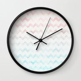 Watercolor Chevron pastel colors Wall Clock