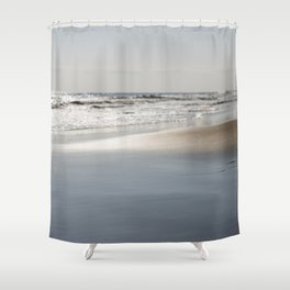 Beach Seascape Ocean Coastline Wave Landscape Colored Wall Art Print Shower Curtain