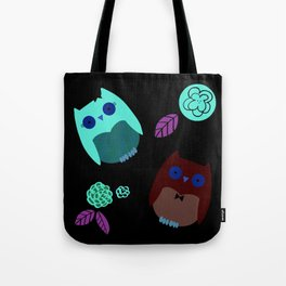 Owls with flowers Tote Bag
