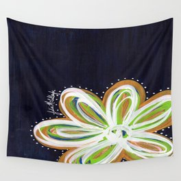 Navy and Gold Flower Wall Tapestry