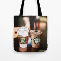 starbucks Tote Bags featuring Starbucks Coffee  by Sara Eshak