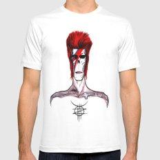 Zed Mercury, 'Aladdin Sane' Bowie tribute White Mens Fitted Tee MEDIUM