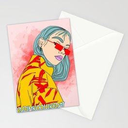 CUZ IM KOOL LIKE DAT - Cool Asian Female with Blue Hair Digital Drawing Stationery Cards