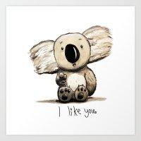 Koala likes you Art Print