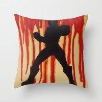 power ranger Throw Pillows featuring Red Power Ranger by Oksana's Art