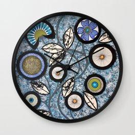 Lovely Flowers Blue Wall Clock