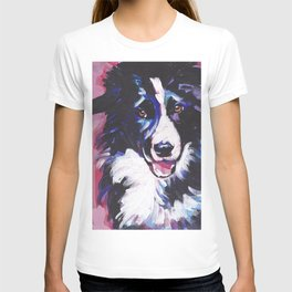 Fun BORDER COLLIE Dog bright colorful Pop Art painting by Lea T-shirt