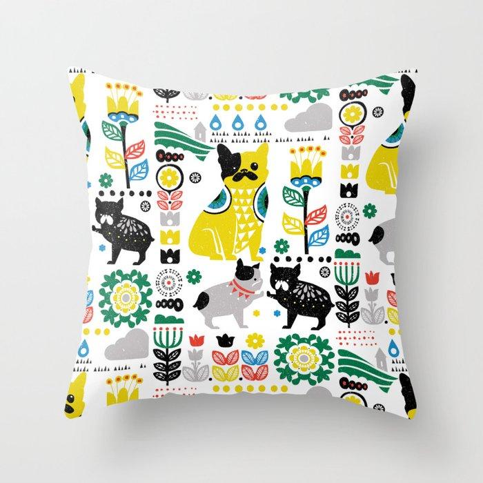 Scandinavian French Bulldog Throw Pillow