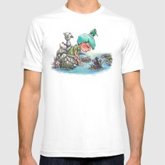 By the River's Edge White Mens Fitted Tee MEDIUM