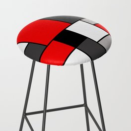 Red Black and Grey squares Bar Stool
