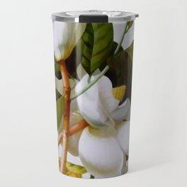 Vintage Botanical White Magnolia Flower Art Travel Mug