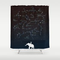 constellation Shower Curtains featuring Falling star constellation by Picomodi